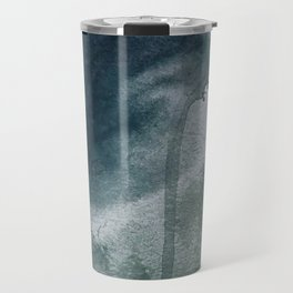 Lakeside: a minimal, abstract, watercolor and ink piece in shades of blue and green Travel Mug
