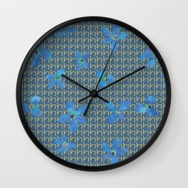 Floral pattern C (blue on blue) Wall Clock