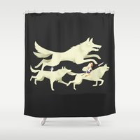 princess mononoke Shower Curtains featuring Princess Mononoke by Wharton