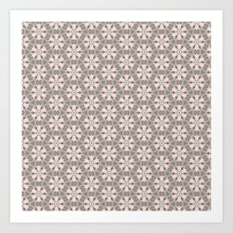Red White Brown Geometric - Peppermint Wheels Art Print