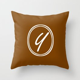 Monogram - Letter Y on Chocolate Brown Background Throw Pillow