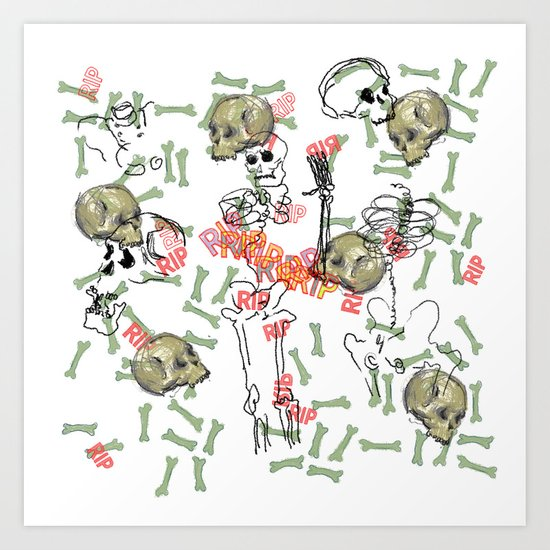 R.I.P. Funky skull joy death thing... I belive  Art Print