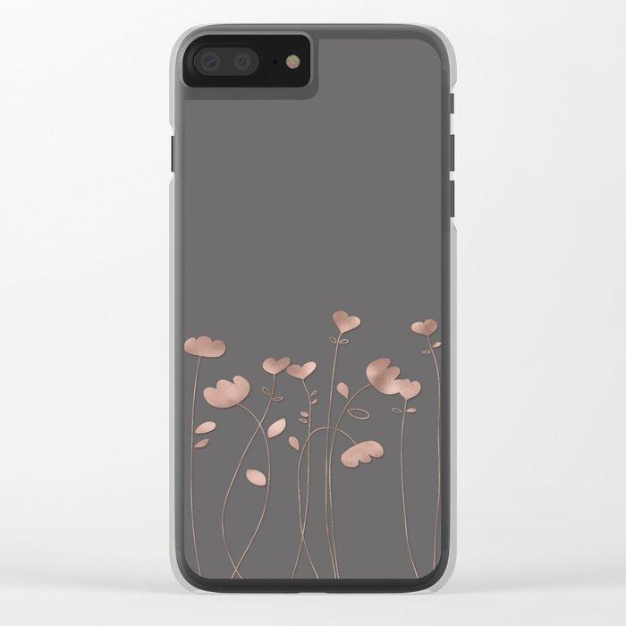 Rosegold pink flowers- floral design- Flower Clear iPhone Case