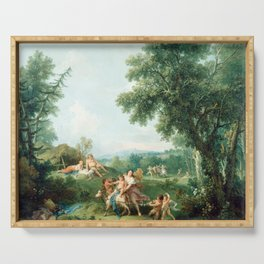Francesco Zuccarelli Landscape with the Education of Bacchus Serving Tray