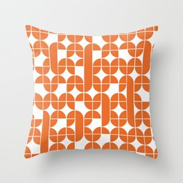 Mid Century Modern Geometric Pattern Orange Throw Pillow