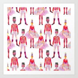 Nutcracker Ballet - White Art Print