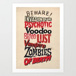 B Movie Beware Art Print