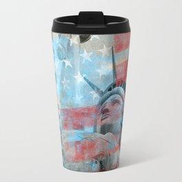 Lady Liberty Stars and Stripes Patriotic Artwork Travel Mug