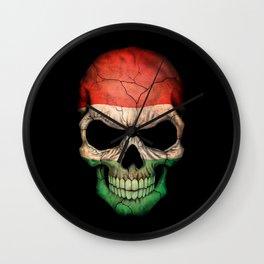 Dark Skull with Flag of Hungary Wall Clock