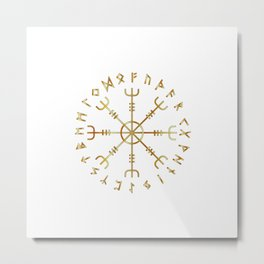Scandinavian Runic Alphabet with the Vegvisir-the Magic Navigation Compass of ancient Vikings Metal Print