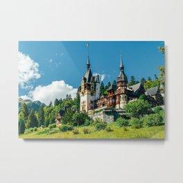 Peles Palace In Transylvania, Architecture Photography, Medieval Castle, Mountain Landscape, Romania Metal Print