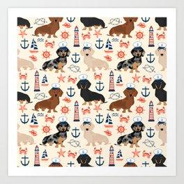 Dachshund nautical sailor dog pet portraits dog costumes dog breed pattern custom gifts Art Print