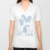 mermaids V-neck T-shirts featuring Mermaids by Veils and Mirrors