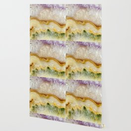 Striated Amethyst in Purple Gold & Green Wallpaper