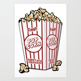Cartoon Sweet Popcorn Art Print