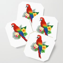 Tropical Macaw Floral Watercolor Coaster