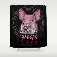 pigs Shower Curtains featuring Pigs Life by VirgoSpice