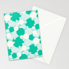 White and green circles over blue Stationery Cards