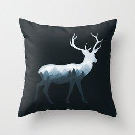Deer Roe Fawn Elk Moose Double Exposure Surreal Wildlife Animal Throw Pillow