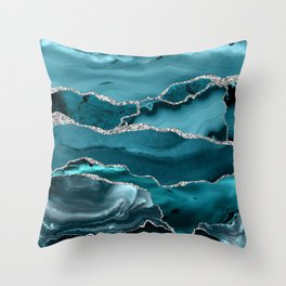 Glamour Turquoise Blue Bohemian Watercolor Marble With Silver Glitter Veins Throw Pillow