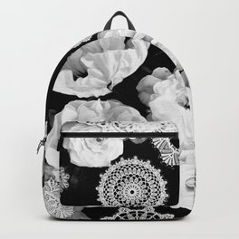 Monochrome Lace and Roses Backpack