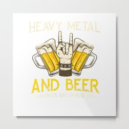 Heavy Metal And Beer Music Concert Metalhead Guitar Gift T-Shirt Metal Print