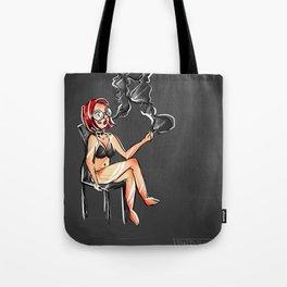 Grungy Alternative Smoking Lady Tote Bag