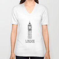 london V-neck T-shirts featuring London by Stacey Walker Oldham