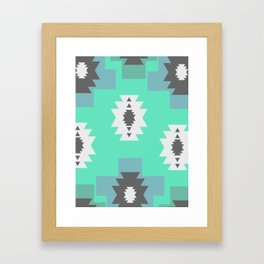 Minimal tribal decor in blue Framed Art Print