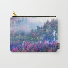 Fog over a colorful fall mountain forest Carry-All Pouch