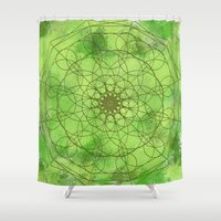 chakra Shower Curtains featuring HEART CHAKRA  by NioviSakali