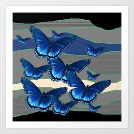 INDIGO BLUE BUTTERFLIES ON THE STORMY HORIZON Art Print