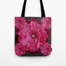 FUCHSIA-PINK  DOUBLE  HOLLYHOCK FLOWERS GARDEN Tote Bag