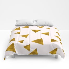 Soft Pink And Rustic Gold Triangles Comforters
