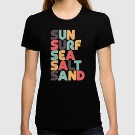 Sun Surf Sea Salt Sand Typography - Retro Rainbow T-shirt