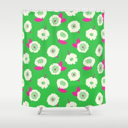 Floating Flower Bright Green Shower Curtain