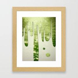 Glittery Green Ocean Dripping On Cream Textured Wall Framed Art Print