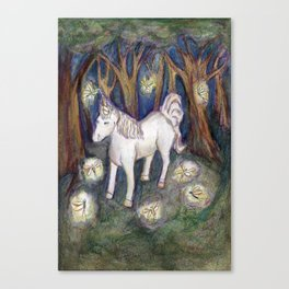 Unicorn with Fairies in the Enchanted Forest Art Canvas Print