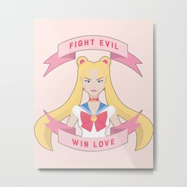 Fight Evil Win Love Sailor Moon Fan Art Metal Print