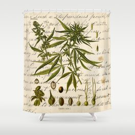 Marijuana Cannabis Botanical on Antique Journal Page Shower Curtain