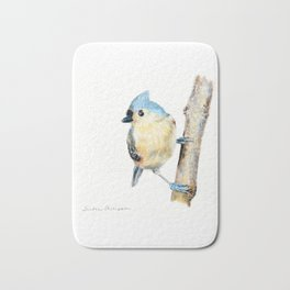 Tufted Titmouse by Teresa Thompson Bath Mat