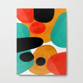 Mid Century Modern Abstract Minimalist Retro Vintage Style Rolie Polie Olie Bubbles Teal Orange Metal Print