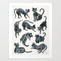 Cat Positions – Black Palette Art Print