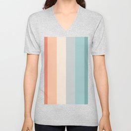 striped color pattern - red , orange, grey, green, Unisex V-Neck
