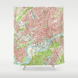 Vintage Map of Knoxville Tennessee (1966) Shower Curtain