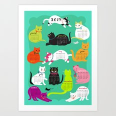 Cats Calendar 2017 Art Print