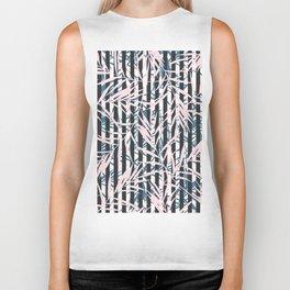 Modern black white stripes blush pink blue tropical leaves Biker Tank