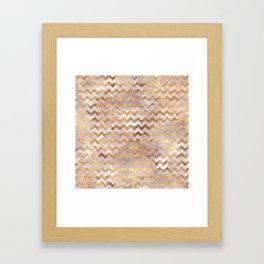 Elegant chic faux gold chevron marble pattern Framed Art Print