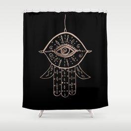 Hamsa Hand Rose Gold on Black #1 #drawing #decor #art #society6 Shower Curtain