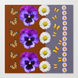 BROWN & PURPLE PANSY WHITE DAISY BUTTERFLIES SPRING Canvas Print